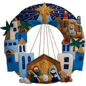 Town Of Bethlehem Wreath Felt Applique Kit