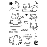 """Cats - Jane's Doodles Clear Stamps 4""""X6"""""""