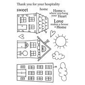 "Home Sweet Home - Jane's Doodles Clear Stamps 4""X6"""