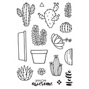 "Cactus - Jane's Doodles Clear Stamps 4""X6"""