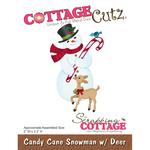 """Candy Cane Snowman W/Deer, 2""""X3.3"""" - CottageCutz Die"""