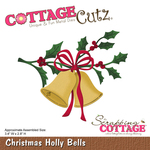 "Christmas Holly Bells, 3.4""X2.8"" - CottageCutz Die"