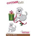 "Puppy W/Ribbon, 3.8""X3.9"" - CottageCutz Die"