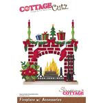 """Fireplace W/Accessories, 3.3""""X3.7"""" - CottageCutz Die"""