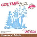 """Snowman W/Animals, 3.3""""X3.3"""" - CottageCutz Elites Die"""
