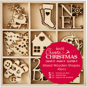 Small Christmas Icons - Create Christmas Wooden Shapes In Tray 45/Pkg