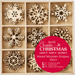 Small Snowflakes - Create Christmas Wooden Shapes In Tray 45/Pkg