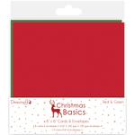 "Red & Green - Dovecraft Christmas Basics Cards W/Envelopes 6""X6"" 8/Pkg"
