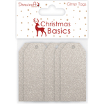 Glitter Silver - Dovecraft Christmas Basics Tags