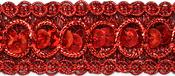 """Red - Trish Sequin Metallic Braid Trim 7/8""""X9'"""