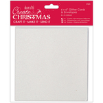 "White, Red, Gold & Silver Glitter - Papermania Create Christmas Cards W/Envelopes 6""X6"""