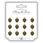 Made With Love - Craft Consortium Wedding Metal Heart Charms 12/Pkg