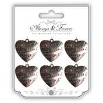 Amore - Craft Consortium Wedding Metal Heart Charms 6/Pkg