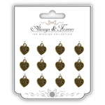 Thank You - Craft Consortium Wedding Metal Vintage Heart Charms 12/Pkg