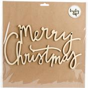Large Merry Christmas Script Words - Lucky Dip Wood Flourish