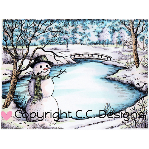 "Winter Lake - DoveArt Cling Stamp 4.5""X3.25"""