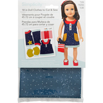 """Navy Dress W/Red & White Purse - 18"""" Doll Clothes To Cut & Sew"""