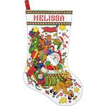 """17"""" Long 14 Count - Santa & Sleigh Stocking Counted Cross Stitch Kit"""