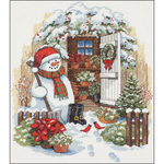 """12""""X14"""" 14 Count - Garden Shed Snowman Counted Cross Stitch Kit"""