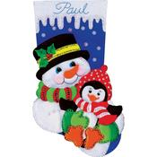 "18"" Long  - Snowman And Penguin Stocking Felt Applique Kit"