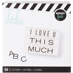 Alphabet/Wide Black On White - Heidi Swapp Lightbox Inserts 50/Pkg