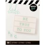 Alphabet/Serif Teal On White - Heidi Swapp Lightbox Inserts 50/Pkg