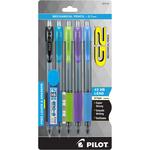 Black/Lime/Purple/Turquoise/Periwinkle - Pilot G2 Mechanical Pencils W/Lead & Erasers .7mm 5/Pkg