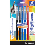 2 Black, 2 Blue & 1 Red - Pilot FriXion Ball Color Sticks Erasable Gel Pens 5/Pkg