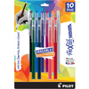 Assorted Colors - Pilot FriXion Ball Color Sticks Erasable Gel Pens 10/Pkg Pilot FriXion Ball Erasable Gel Pens allow you to erase and rewrite repeatedly without damaging documents. The thermo-sensitive gel ink formula disappears with the erasing friction of a rubber tail plug eraser on the pen. Erasing leaves no residue or debris. Each pen can write on the same spot that has been erased. Each gel rollerball pen delivers smooth writing gel ink and is not recommended for signatures, examination papers or official documents where writing needs to remain permanent or for exposure to extreme temperatures. No-clip Color Sticks lay down a fine .7mm line.   Includes 1 each of Black, Blue, Red, Purple, Orange, Gray, Hunter Green, Magenta, Navy and Salmon Pink.