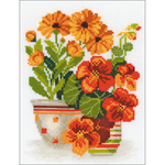 "7.75""X10.25"" 10 Count - Nasturtiums & Marigolds Counted Cross Stitch Kit"