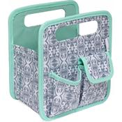 "Gray & White Print W/Mint Trim - Everything Mary Makers Desktop Tote 8.75""X7.75""X5"""
