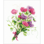 "6""X7"" 14 Count - Bouquet With Sweet Peas Counted Cross Stitch Kit"
