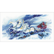 """21.75""""X11.75"""" 14 Count - Magical Sleigh Ride Counted Cross Stitch Kit"""