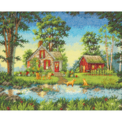 """14""""X11"""" 14 Count - Gold Collection Summber Cottage Counted Cross Stitch Kit"""