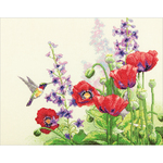 """14""""X11"""" 14 Count - Hummingbird & Poppies Counted Cross Stitch Kit"""