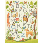"""9""""X12"""" 14 Count - Wooded Alphabet Counted Cross Stitch Kit"""