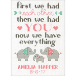 """5""""X7"""" 14 Count - Family Birth Record Counted Cross Stitch Kit"""