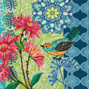 """14""""X14"""" Stitched In Wool - Blue Floral Needlepoint Kit"""
