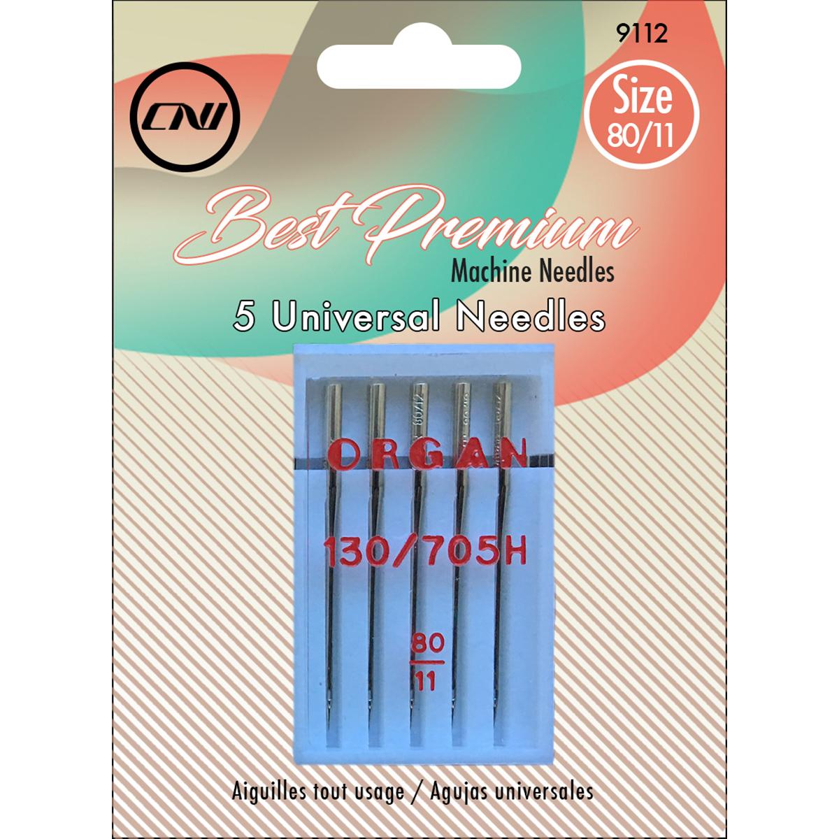 Size 80/11 - Universal Sewing Machine Needles 5/Pkg