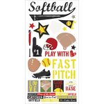 "Simple Sets Softball Cardstock Stickers 6""X12"""