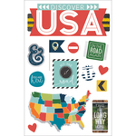 "Discover USA - Paper House 3D Stickers 4.5""X7"""