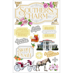 """Southern Charm - Paper House 3D Stickers 4.5""""X7"""""""