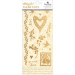 Gold Foil Wedding - Paper House Sticky Pix Clear Cuts Stickers 5/Pkg