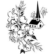 "Country Church - Prickley Pear Cling Stamps 3""X4"""