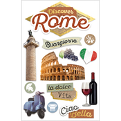 """Discover Rome - Paper House 3D Stickers 4.5""""X7"""""""
