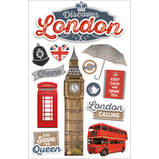"""Discover London - Paper House 3D Stickers 4.5""""X7"""""""