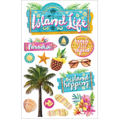"""Island Life - Paper House 3D Stickers 4.5""""X7"""""""