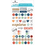 "Travel - Paper House Life Organized Planner Stickers 4.5""X7.5"" 4/Pkg"