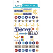 "Nautical - Paper House Life Organized Planner Stickers 4.5""X7.5"" 4/Pkg"