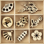 Oriental - Themed Mini Wooden Flourishes 40/Pkg